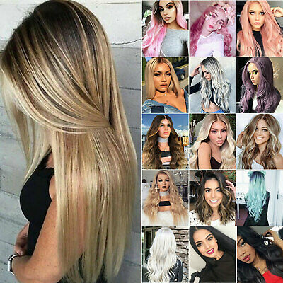£11.87 • Buy Women Real Natural Medium Long Straight / Curly Hair Wigs Party Cosplay Full Wig