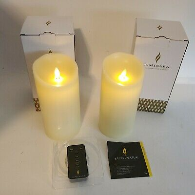 £18.80 • Buy Luminara Candle Gift Set Of 2 Candles Ivory 7-1/2  With Remote & Timer