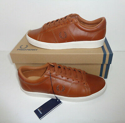 £29.98 • Buy Fred Perry Mens Leather Tan Lace Retro Trainers Shoes Casual New RRP £75 Size 4