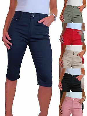 £18.99 • Buy Ladies Stretch Chino Sheen Jeans Style Cropped Capri Trousers Turn Up Cuff 10-20