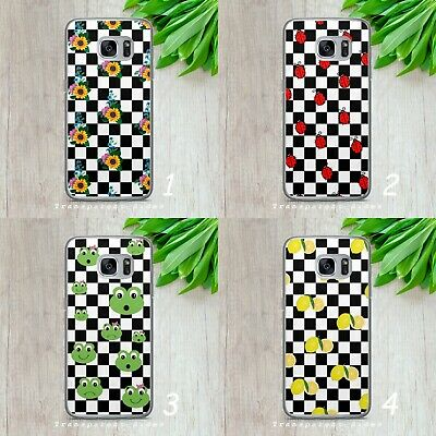 £5.99 • Buy Checkered Floral Lemon Pattern Hard Phone Case Cover For Iphone Samsung Huawei