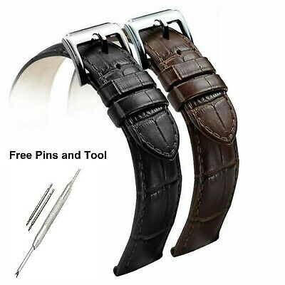 £2.99 • Buy Mens Ladies Leather Band.Watch Strap 2pcs Black, Brown 18 20 22mm + Pins + Tool