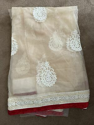 £53 • Buy Cream And Red Net Saree With Stunning Blouse