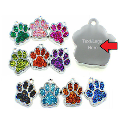 £3.99 • Buy 😻 Personalised Engraved Glitter Pet Tags Dog Cat Charm Name Neck Collar Tag 🐶