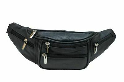 $14.99 • Buy Genuine Cowhide Leather Waist Fanny Pack Pouch 6 Compartments Black