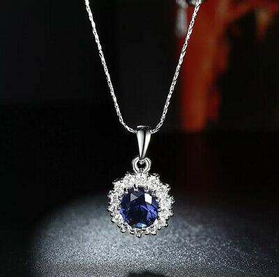 £11.42 • Buy Kate Middleton Replica Blue Halo Sapphire Pendant Drop Necklace Sterling Silver