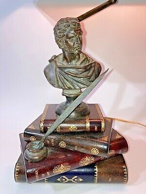 $795 • Buy Vintage Maitland Smith Book Stack Desk Lamp Caesar Bust Leather Shade Very Nice!