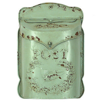 $64.37 • Buy Vintage Tin Letter Box Green Post Drop Mail Wall Mount Decor Metal Flower Holder