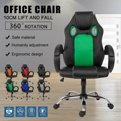 AU99.99 • Buy Swivel Gaming Chair Executive Office Computer Chair Racer Racing PU Leather/Mesh