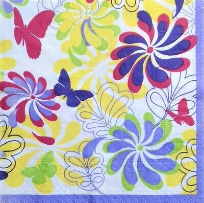 £1.35 • Buy 4 X Single Paper Napkins Decoupage Crafting Pink Floral Butterfly Pattern 3