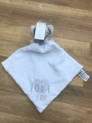 £34.99 • Buy Mothercare Grey White Elephant I Love You Comforter Blanket First Soft Toy Blank