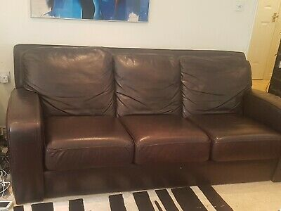 £95 • Buy Sofa Leather Dark Brown By Halo Plus Free Cushions