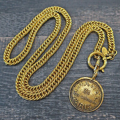 £177.35 • Buy CHANEL Gold Plated CC Cambon Round Charm Vintage Necklace Pendant #6820a Rise-on