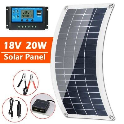£21.99 • Buy Solar Panel Kit 20W 18V Battery Charger Maintainer 30A Charge Controller For Car