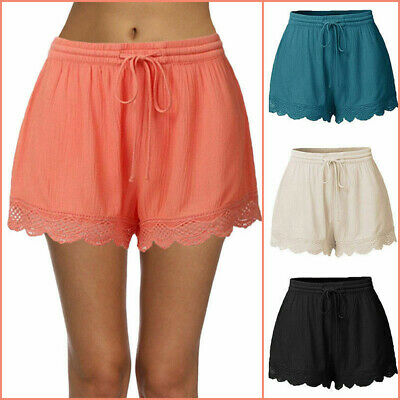 £8.99 • Buy Womens Shorts Plus Size Casual Elastic Waist Drawstring Comfy Lace Trim Trousers