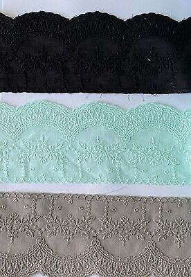£4.39 • Buy Cotton Embroidered Lace Fabric Trim 1 Yard Width 8 Cm