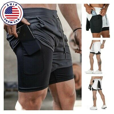 $15.03 • Buy Men's Running Shorts Gym Sports Training Bodybuilding Workout Fitness Gym Pants
