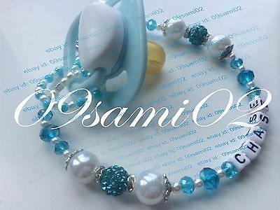 £5.25 • Buy Personalised Baby Boys ❤ Bling Dummy Clip, Pearl & Crystal ❤romany❤