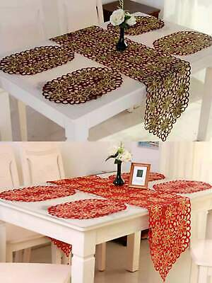 £4 • Buy Embroidered Placemats Floral Lace Table Mats Washable Doilies Oval 30x45 Cm