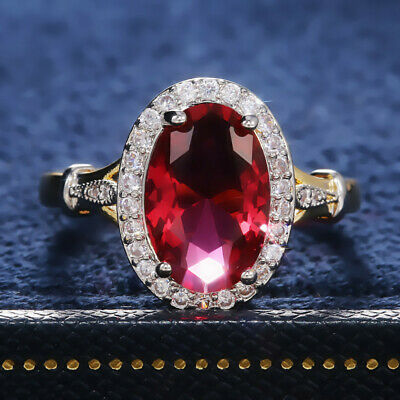£3.12 • Buy 18k Yellow Gold Plated Rings Gorgeous Ruby Jewelry Women Wedding Rings Size 6-10
