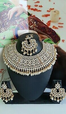 £24.49 • Buy Gold Clear Bollywood Indian Necklace Earrings Tikka Jewellery Set Party Wear