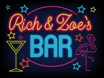 £6.99 • Buy Personalised Bar Sign METAL Plaque Eighties Neon Cocktail Style Pub 80s