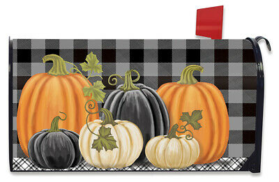 $16.99 • Buy Checkered Pumpkins Autumn Magnetic Mailbox Cover Primitive Standard