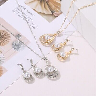 £3.56 • Buy Crystal Wedding Jewelry Set Necklace Earring Set Brides Silver Bridal Statement