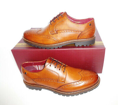 £25.98 • Buy Base London Mens Leather Tan Brogues Formal Shoes New RRP £80 UK Sizes 5 6 7