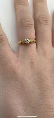 £300 • Buy 18ct Yellow Gold Diamond Solitaire Ring With Diamond Shoulders, Size N