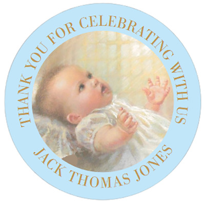 £3.75 • Buy 48 Personalised Christening Baptism Stickers Pink Or Blue  40mm Labels