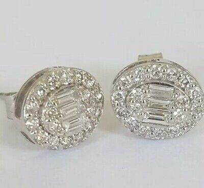 £525 • Buy Solid Platinum 0.40ct Diamond Oval Cluster Earrings Studs