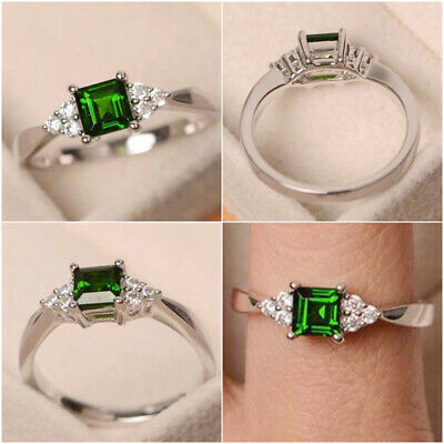 £2.55 • Buy Elegant Princess Cut Emerald Engagement 925 Silver Rings Jewelry Gifts Size 6-10