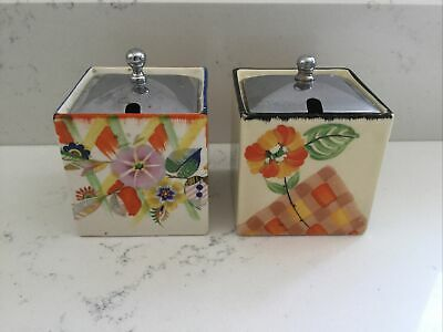 £28.99 • Buy Two Hand Painted Art Deco Floral Jam Sugar Pot By Parrot & Co Coronet Ware Cube