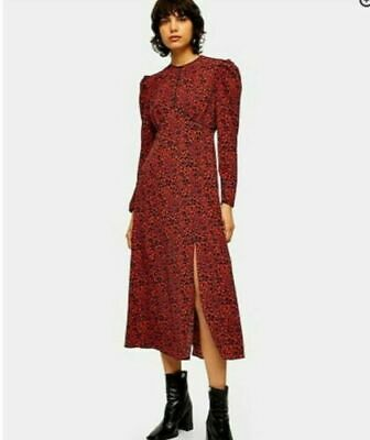 £29.99 • Buy Topshop Printed Piped Midi Dress Red Black Size  12 Ladies Brand New With Tags