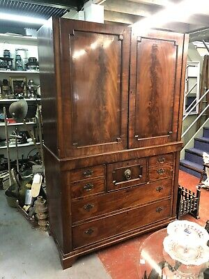 £249 • Buy Antique Early Victorian, Cupboard, Linen Press, Chest Of Drawers.
