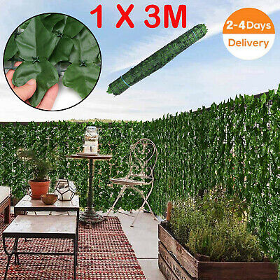 £24.99 • Buy 3M X 1M Artificial Faux Ivy Leaf Hedge Panels Roll Privacy Screening Fence Decor