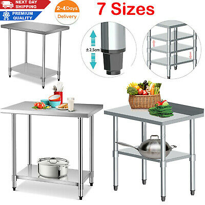 £105.99 • Buy Stainless Steel Adjustable Shelf Commercial Catering Table Work Bench Kitchen UK
