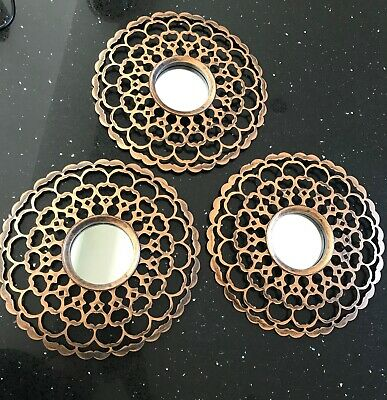 £9.99 • Buy Set Of 3 Aaliyah Mirror Copper Moroccan Round Wall Mirror Wall Art Home Decor
