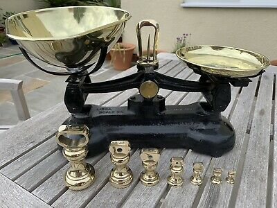 £50 • Buy Vintage Libra Scale Co. Cast Iron And Brass Scales Complete With Brass Weights