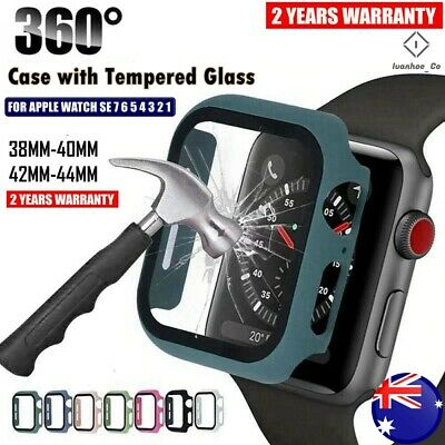 AU8.49 • Buy Full Glass Cover For Apple Watch IWatch Series SE 6 5 4 3 2 1 Case 38 40 42 44mm