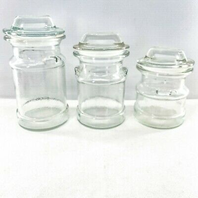 $89.95 • Buy 3 Vintage Mid Century LE Smith Glass Clear Milk Can Shape Canisters Jars
