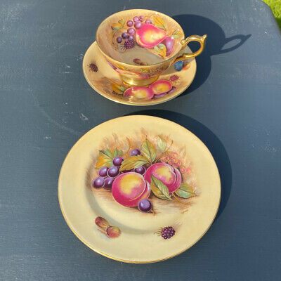 £95 • Buy Aynsley English Orchard Gold Cup & Saucer & Tea Plate Signed D Jones & N Brunt