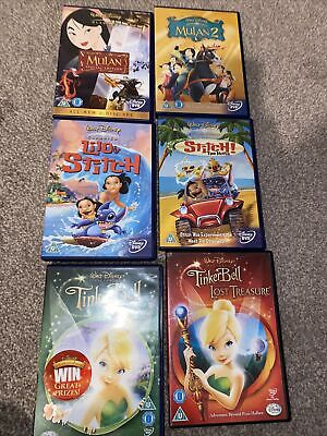 £9.99 • Buy Bundle Of 6 Disney Dvds Mulan 2 Lilo Stitch The Lost Treasure Tinkerbell