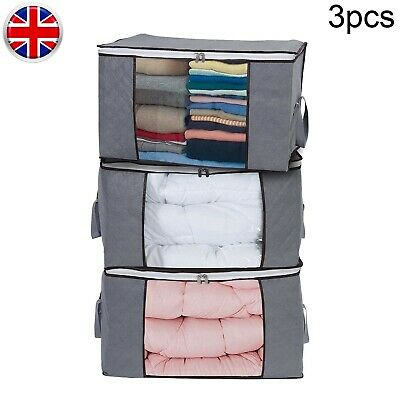 £6.99 • Buy 3X SET Storage Boxes Folding Stackable Fabric Underbed Wardrobe Clothes Basket