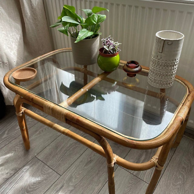 £64.99 • Buy Handmade Natural Rattan Side Coffee Table, Rectangle With Glass Top