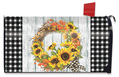 $16.99 • Buy Sunflower Fall Wreath Magnetic Mailbox Cover Autumn Floral Standard Briarwood