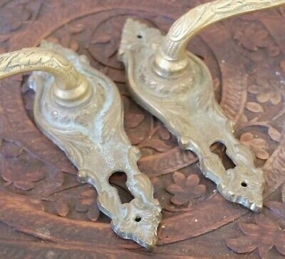 £24 • Buy Pair Of BRASS Vintage French GOLD Shabby Chic Metal Door Handles With Keyhole