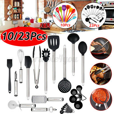 AU33.99 • Buy 10 / 23 PCS Healthy Stainless Steel Silicone Kitchen Utensil Set Baking Cookware