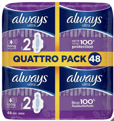 £9 • Buy Always Ultra Long Sanitary Towels Pads Size 2 Wings Womens Absorbent Pack Of 48